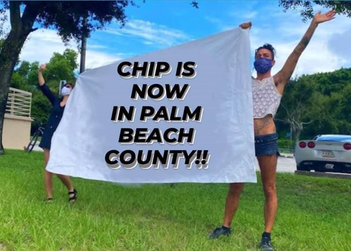 CHIP volunteers holding up a banner at the Gun Club jail at our noise demo in August 2020
